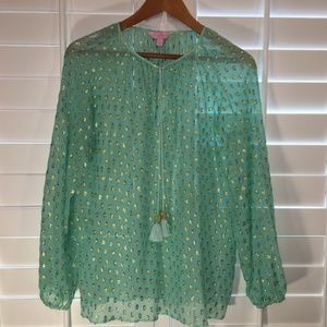 Lilly Pulitzer Teal Sheer Blouse - Sz. S